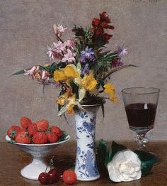 Henri Fantin-Latour : Still life of Engagement (1869). Flowers, a glass of wine, strawberries and cherries make up this still life given by the painter to his future wife on the occasion of their engagement.  Paintings of the Museums of France: GRENOBLE