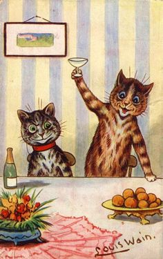 vintage cat art  by Louis Wain