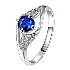Mock Sapphire Spiral Jewels Classical Ring Size Women's