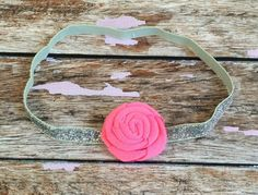 Silver Glitter with Pink Rosette Elastic Headband by PinkSunshinePretties on Etsy