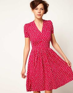Spot Leaf Tie Tea Dress