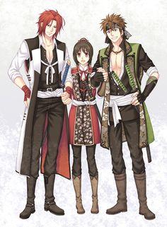 Hakuouki Shinsengumi Kitan, Yukimura Chizuru, Nagakura Shinpachi (Hakuouki), Harada Sanosuke (Hakuouki)
