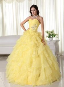 Yellow Sweetheart Organza Appliqued Quinceanera Dresses in Concordia