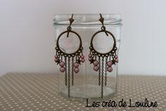 Boucles d'oreilles créoles bronze rose pâle : Boucles d'oreille par les-crea-de-louline