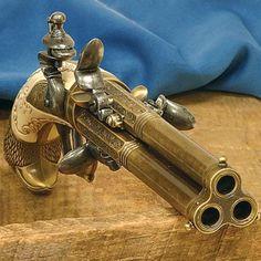 Three-Barreled Flintlock pistol.