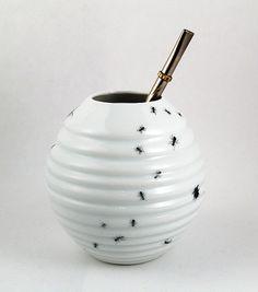 Yerba Mate Cup - Porcelain Handmade Mate Mug with Bugs. $27.00, via Etsy.