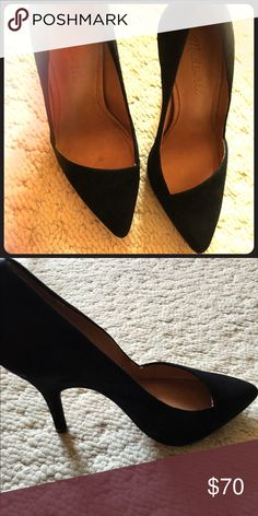 """New Suede black 3 3/4"""" heel with low cut vamp 5.5 size elegant black heel that's never been worn so great condition. There's a leather lining. Madewell Shoes Heels"""