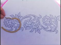 Hand Embroidery:hand embroidery design,border line embroidery with beads Hand Embroidery Design Patterns, Hand Embroidery Projects, Basic Embroidery Stitches, Hand Embroidery Videos, Tambour Embroidery, Embroidery Stitches Tutorial, Embroidery Flowers Pattern, Motifs Perler, Lino Prints