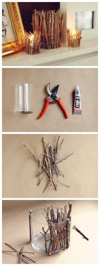 Easy (and affordable) DIY candle holder projects for your wedding (or home DIY Decorative Tree Branches Candle Holder - spray the branches white and black first.DIY Decorative Tree Branches Candle Holder - spray the branches white and black first. Diy Candle Holders, Diy Candles, Rustic Candles, Candle Jars, Candle Sticks, Glass Jars, Rustic Candleholders, Glass Glue, Rustic Vases