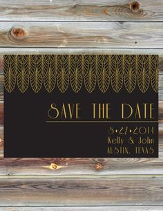 Art Deco Save the Date Card  Black and Gold by BeautifullyBevilled, $20.00