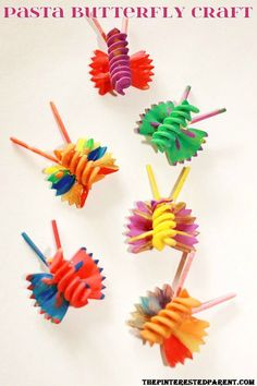 pasta butterfly craft for kiddos! SO Cute! You could probably glue to a canvas too for wall decor! #kids