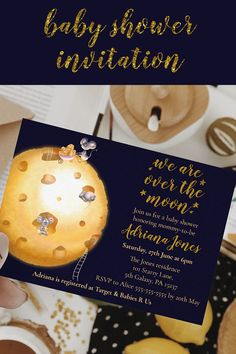 Shop Faux gold glitter, moon made of cheese & cute mice invitation created by LandofWhimsy. Custom Invitations, Baby Shower Invitations, Party Invitations, Baby Shower Themes, Shower Ideas, Target Baby, Cute Mouse, Paper Design, Gender Neutral