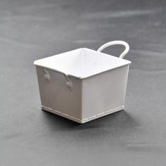White square metal bucket