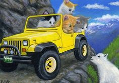 Photo: :)) Car Cat, Magic Cat, Creation Photo, Animation, Fluffy Cat, Cat Drawing, Cute Images, Cute Illustration, I Love Cats
