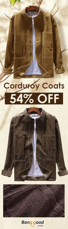 f23dcd5281eed Free Shipping   New Arrivals Mens Corduroy Winter Loose Button Fly Thick  Warm Vintage Long Sleeve Coats