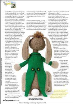Knitting Books, Knitting Stitches, Baby Knitting, Rabbit Toys, Bunny Toys, Simply Knitting, Knitting Magazine, Knitted Animals, Crochet Bear