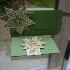 Gift box and co-ordinating gift-card envelope. Stampin Up, Bright & Beautiful and Stars framelits.   Envelope Punch Board.