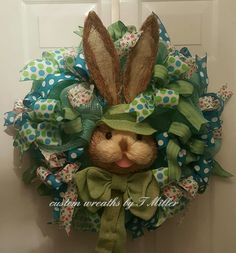 Extra large green and blue bunny Easter wreath, Spring wreath