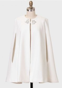 Winter Gala Embellished Cape By Line & Dot - Women's style: Patterns of sustainability Cape Dress, Cape Coat, Dress Up, Modest Fashion, Hijab Fashion, Fashion Dresses, White Cocktails, Holiday Outfits, Mode Style