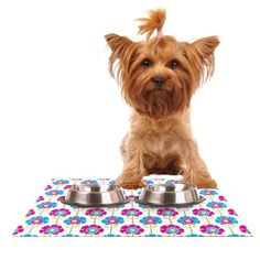 Kess InHouse Apple Kaur Designs 'Lolly Flowers' Blue Pink Feeding Mat for Pet Bowl, 18 by 13-Inch >>> Click on the image for additional details. (This is an affiliate link and I receive a commission for the sales) #MyPet