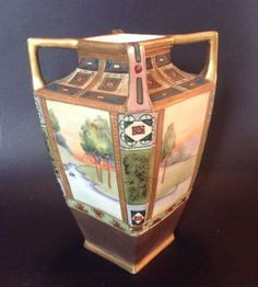 Nippon-Noritake-Art-Nouveau-Vase-With-4-Handles-Hand-Painted-Raised-Moriage