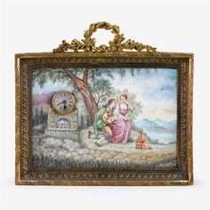 Laurel Wreath, Desk Clock, Silver Enamel, Antique Jewelry, Auction, Scene, Fine Art, Antiques, Frame