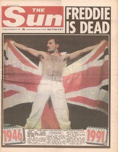 Imagen del día: portada de The Sun anunciando la muerte de Freddie Mercury. Murió un 24 de noviembre de 1991. LO ADORO