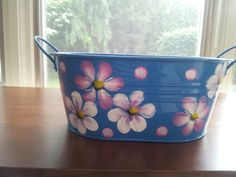 Decortive Hand Painted Enamel Tin by krystasinthepointe on Etsy, $16.00