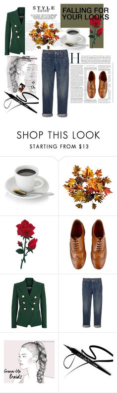 """""""Untitled #47"""" by kamila-taufiq ❤ liked on Polyvore featuring Improvements, Grenson, Balmain and Gap"""