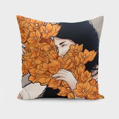 Discover «Orange flower», Exclusive Edition Throw Pillow by Paola Morpheus - From 27€ - Curioos