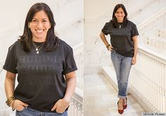 Pair the wordy tee with a classic pair of jeans and heels