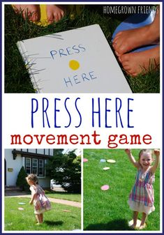 Here Movement Game What a fun way to get kids up and moving and exploring the book Press Here!What a fun way to get kids up and moving and exploring the book Press Here! Library Activities, Movement Activities, Music Activities, Play Activity, Physical Activities, Movement Songs, Therapy Activities, Therapy Ideas, Toddler Activities