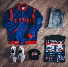 Blue and red supreme outfit + yeezys