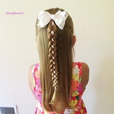 braided half updo for girls with long hair