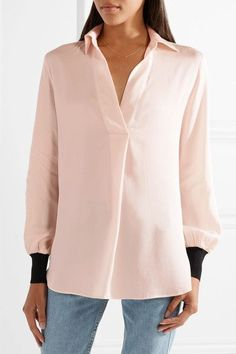 Pastel-pink stretch-silk and black ribbed-knit Slips on 92% silk, 8% elastane; trim: 86% viscose, 14% elastane Hand wash Imported The Curated Closet, Malene Birger, Men's Grooming, Work Wear, Fashion Show, Tunic Tops, Style Inspiration, Couture, Blouse