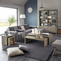 Tables basses, sofa gris, living room modern, home living room, living room House Design, Home And Living, Room Design, Home, Modern Room, Home Deco, Monochromatic Living Room, Living Room Grey, Gray Living Room Design