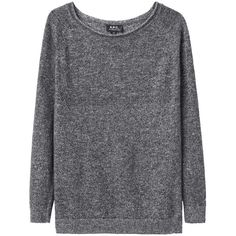 A.P.C. Grey  Raglan Sweat Top ($415) ❤ liked on Polyvore