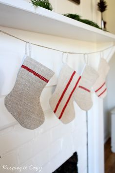Keeping It Cozy: A Christmas Dining Room and mini grain sack stockings from Sutton Place Designs