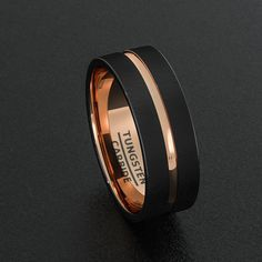 Mens Wedding Band Black Tungsten Ring 8mm Rose Gold Inlay Groove Matted Brushed Surface Flat Cut Edge Comfort Fit(8)