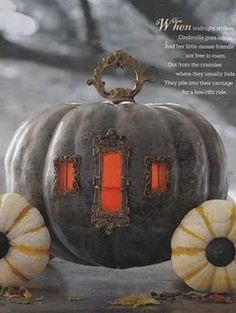 """""""Image courtesy of Hallmark Magazine [now defunct]. This Cinderella Pumpkin was made using old belt buckles, door plates and lamp parts."""" ...I would make this for a fairy garden!"""