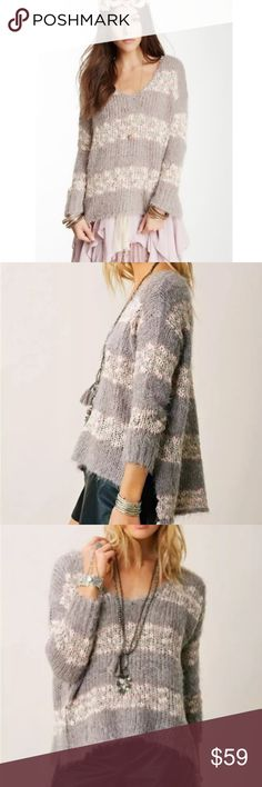 """FREE PEOPLE ~ Small LINUS Oversized Sweater Gray **NO Trades Please** EXCELLENT used condition!!  """"Get cozy by the fire in this feather-soft Free People pullover sweater. A feminine V-neck adds sensuality and the hi-lo hemline makes this pullover look trendy and unexpected."""" ~ Free People  50% Acrylic 22% Nylon 15% Cotton 13% Wool Knit Blend  Bust:  (across front only… at armpits): 24"""" Length: Front ~ 25""""… Back ~ 27"""" Free People Sweaters V-Necks"""