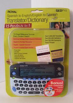 Royal English To Spanish Translator  - Royal Model 29542Q  - SEDPro Dictionary  #Royal
