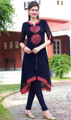 Real elegance will come out of your dressing style and design with this tunic in blue color shade embroidered georgette. This lovely attire is displaying some extraordinary embroidery done with lace and resham work.  #georgettetunics #girlstunictop #zipperstylekurtis