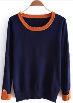 Blue Contrast Trims Buttons Long Sleeve Sweater, $32.80
