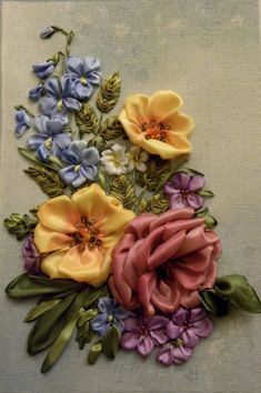 Learn Embroidery, Silk Ribbon Embroidery, Embroidery Art, Cross Stitch Embroidery, Embroidery Patterns, Flower Embroidery, Crazy Quilt Stitches, Ribbon Art, Ribbon Flower