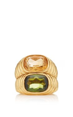 18k yellow gold citrine and peridot vintage bulgari ring by portero u003d