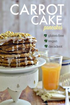 Carrot Cake Pancakes with 'cream cheese ' drizzle recipe! Sound delicious and simple to make! (gluten-free and vegan) from Fork Beans Gf Recipes, Dairy Free Recipes, Vegan Gluten Free, Whole Food Recipes, Vegan Vegetarian, Paleo, Carrot Cake Pancakes, Vegan Carrot Cakes, Vegan Sweets