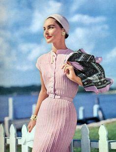 1955 knit fashion. 50s pink knit dress photo color print ad model magazine