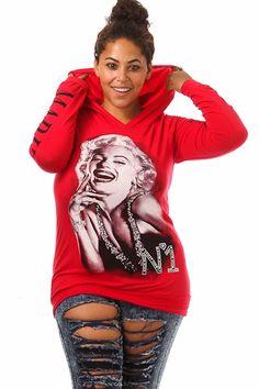 Female Casual Hooded Sweatshirt Wellcoda Marilyn Deep Red Lips Womens Hoodie