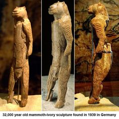 The Lion Man Sculpture Of The Hohlenstein-Stadel -- Carbon dated to BCE. Discovered: 1939 in the Hohlenstein Cave of the Lone Valley in Baden-Wurttemberg, Germany. It has the body of a human and the head of a lion. Ancient Aliens, Ancient History, Art Pariétal, Paleolithic Art, Art Ancien, Ancient Artifacts, Ancient Mysteries, Ancient Civilizations, Oeuvre D'art